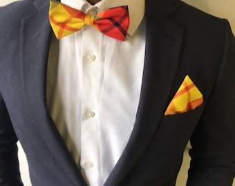 Yellow & red madras bowtie