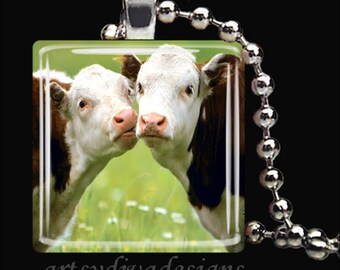 COWS IN LOVE Kissing Farm Animals Country Glass Tile Pendant Necklace Keyring