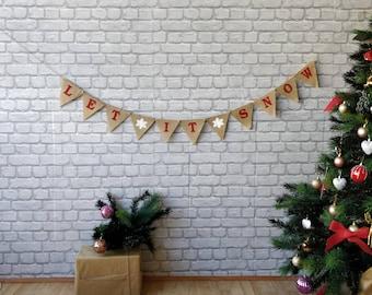 LET IT SNOW Red Christmas Burlap Banner Bunting Burlap Flags Pendants  Snowflake Noel Vintage decor