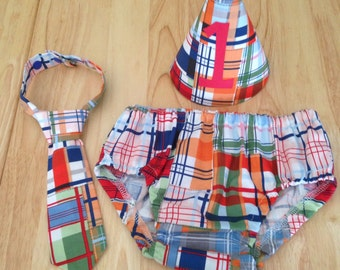 Boys Cake Smash Outfit - Patchwork Plaid - Diaper Cover, Tie & Birthday Hat - Birthday Set