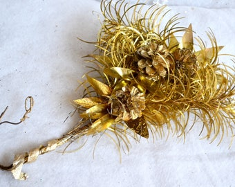 Vintage Christmas Ornament Stem - Tinsel Spray Cluster in Gold