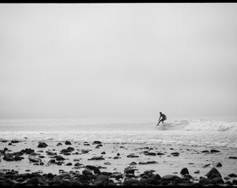 Surf Art Print, 'The Lone Surfer', Surfing Photography Print, Canvas Wrap, Beach Art, Home Decor, Black and White Fine Art Print
