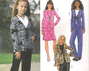 Uncut Girls' Sizes 12, 14, 16.  JACKET, TOP, SKIRT and Pants Butterick Pattern 3959 Very Easy Sewing Pattern