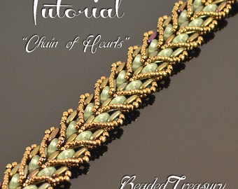 CHAIN OF HEARTS Beading pattern Beaded bracelet tutorial with QuadraLentil Bar Seed beads Beadwoven hearts bracelet pattern - Tutorial Only