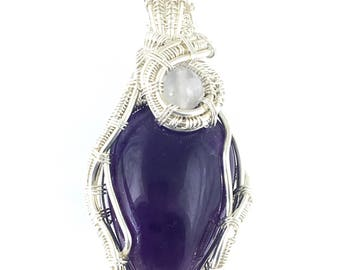 Amethyst gemstone pendant with Moonstone, wire wrapped in fine silver.  Remembering One's Connection To The Divine