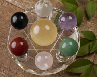 Seven Chakra Crystal Sphere Set with Base- Natural Stone Chakra Kit, 7 Chakra Set, Chakra Crystal Set, Healing Crystal, Healing Stones E0328