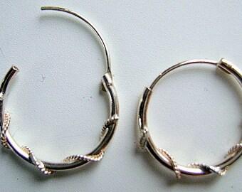 Earring, STERLING, 16mm, LOOP, Round,  1 Pair, Findings, earwire, Wrapped, 16mm, Hinged, Rope