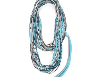 Gray and Light Blue Scarf, Unisex, Cotton Jersey, Women, Men, Infinity Scarf, Festival, Burning Man, Festival Clothing, Infinity Scarf