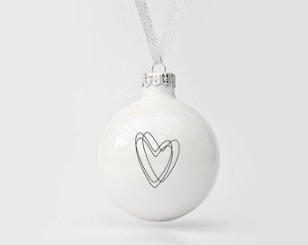 Handmade Christmas Ornament with Heart, Big Christmas Bauble, Christmas Tree Decoration