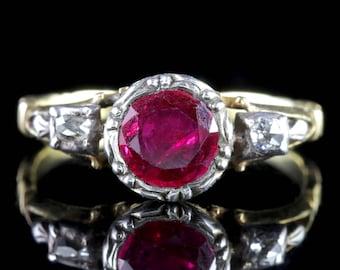 Georgian 18ct Gold Ruby Ring 1.50ct Ruby