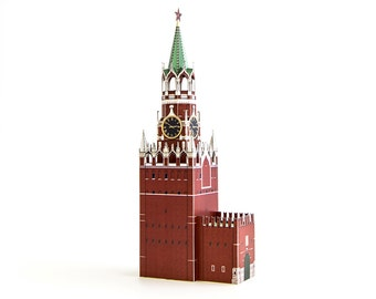 Spasskaya Tower paper model kit || Moscow Kremlin clock tower || height 9 inches or 23 cm