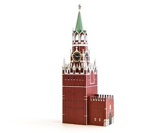 Spasskaja-Turm-Papier-Modell-Bausatz || Moskauer Kreml Uhrturm || Höhe 9 cm oder 23 cm