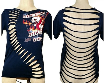 Cut up tshirt - upcycled Rock and roll shirt - shredded rock and roll tee - distressed T-shirt - shredded top - Ed hardy shirt - cut up tee