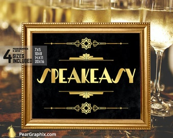 Speakeasy Sign DIY Printable / Roaring 20s Great Gatsby Party Decoration Prohibition Era Party Sign / Art Deco Black Gold ▷ Instant Download