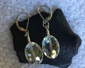Simple Crystal Drops and Sterling Leverback Earrings