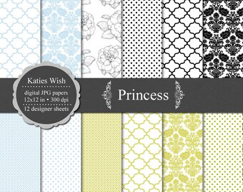 Instant Download Princess Digital Paper Kit 12x12 inch files for Commercial Use