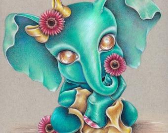 """Elephant #2 8""""x 10"""" Art Print"""