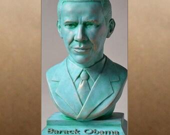 Barack Obama color patina bust figure sculpture