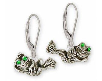 Frog Earrings Jewelry Sterling Silver Handmade Frog Earrings FG9-XE