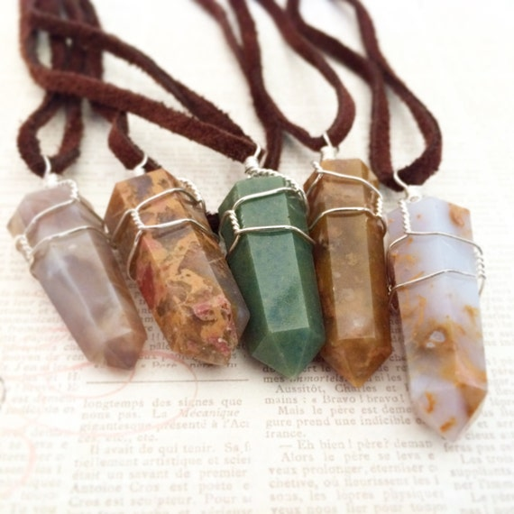 "Jasper Wire Wrapped Necklace on Brown Suede Cord- ""Supreme Nurturer"" Assorted Color Double Terminated Rock Crystal Healing Energy Stone"