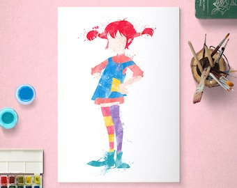 Pippi Longstocking, Poster, Watercolour Art, Printable Instant Download