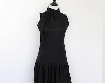 Drop Waist Mini Dress With Belt Jonathan Logan 60s to 70s Vintage Sleeveless High Neck Pleated Skirt LBD Stretchy Dress Smal