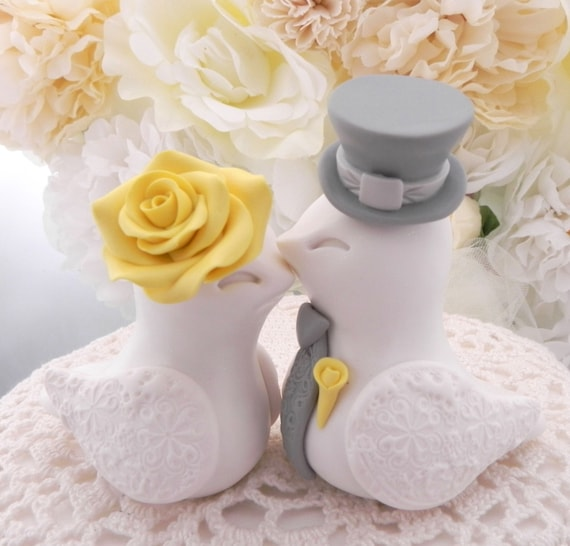 Love Birds Wedding Cake Topper, White, Bright Yellow and Grey, Bride and Groom Keepsake, Fully Customizable