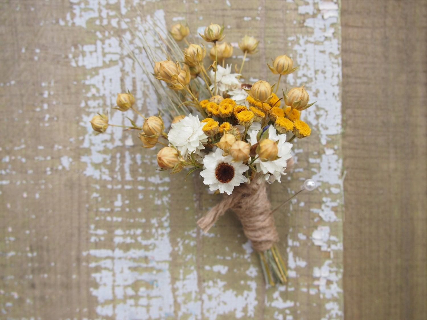Hippie CHIC WEDDING Boutonniere Dried Flowers are Perfect