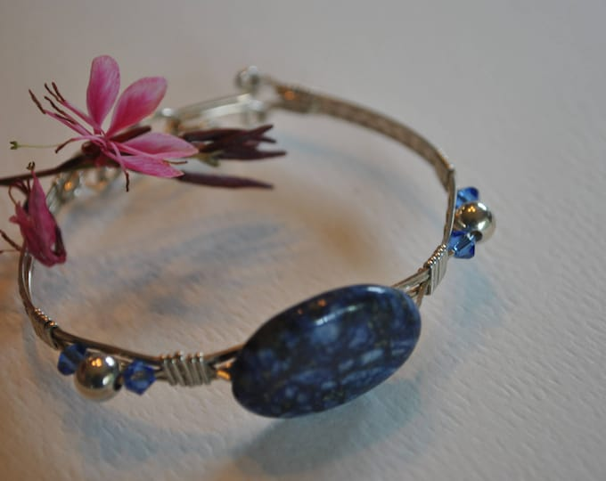 Sterling silver wire wrapped Blue Sodalite Stone Bracelet, stone and crystal bracelet, gemstone jewelry