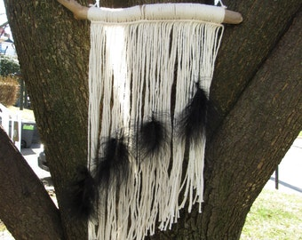 Small Hand-Knotted Wall Hanging with Black Feathers