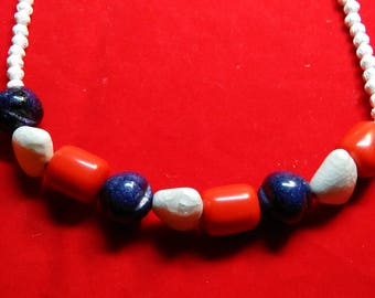 Red, white and blue necklace...