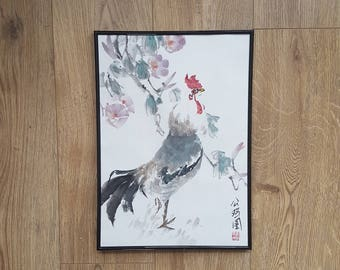 Original Chinese painting: Singing rooster with trumpet vine