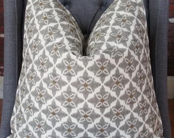 Taupe Ikat Pillow, Decorative Pillow, Brown Pillow, Throw Pillow, Toss Pillow, Home Decor, Home Furnishing, Made in USA