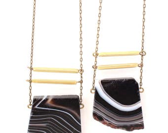 Eliza -- black agate slabs with brass tube accents, minimalist, boho, earthy necklace, gift for her.