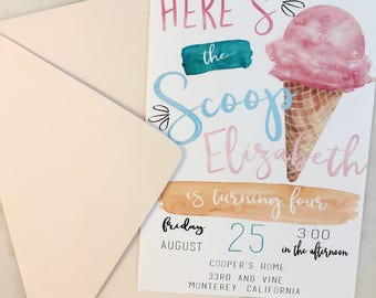 Printable Here's the Scoop Ice Cream Birthday Invitation