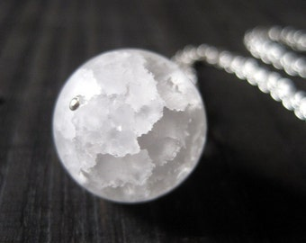 Snow Globe Necklace, Snow Ball Pendant, Crackle Quartz Sphere Pendant, Snowball Necklace, Frosted Quartz Pendant