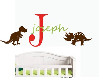 Childrens Wall Decal DINOSAUR  Monogram
