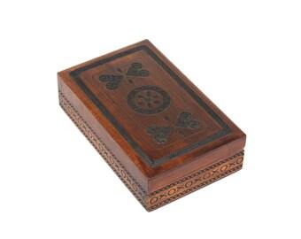 Vintage Wooden Jewelry Box Ornament wood box Pyrography Trinket Box Hand Tooled Handmade Box hand carved box inlaid Polish box Poland 70s