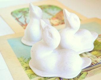 Baby ducks ducklings white porcelain duck figurines Set of 3 Vintage midcentury