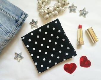 POLKA DOT SCARF, black infinity scarf, spring infinity scarf, black polka dots scarf, printed circle scarf, gift for her, mother's day gift