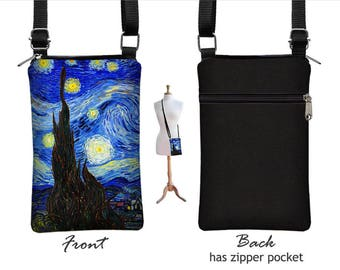 Starry Night Cell Phone Case for iPhone 8  / Plus, Fabric Smartphone Phone Purse, Small Cross Body Bag, Vincent Van Gogh,  blue, yellow  RTS