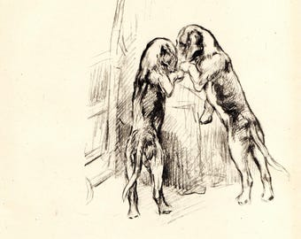 "1942 Vintage DOG PRINT from a book of Sketches by K.F. Barker ""Secrets"""