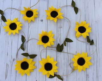 Sunflower felt Garland