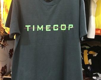 "Free Shipping Vintage 1994 Time Cop Movie T-Shirt /Size L 21"" / Scifi Action Movie Jean Claude Van Damme"