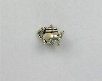 Sterling Silver 3-D Movable Tea Pot Charm