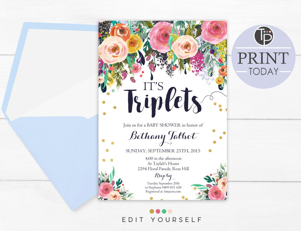 Triplets baby shower invitation instant download printable zoom filmwisefo
