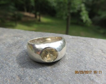 Sterling Silver Citrine Ring Solitaire Band Sz 7.5 6.8g