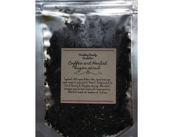 Natural and organic coffee and herbal sugar scrub