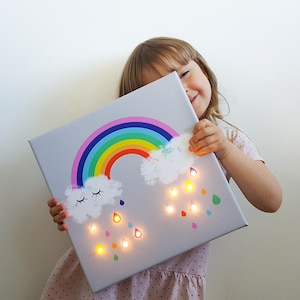 Rainbow Led, Rainbow Raindrops, Rainbow Wall Art, Marquee Light, Rainbow  Lamp,