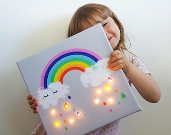 Rainbow led, Rainbow Raindrops, Rainbow wall art, Marquee light, Rainbow lamp, Rainbow nursery art, Rainbow lighting, Rainbow baby, Rainbow